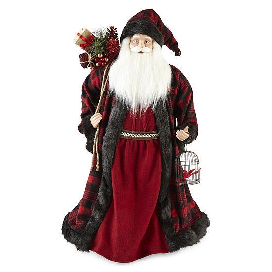 "North Pole Trading Co. 36"" Buffalo Plaid Handmade Santa Figurine"