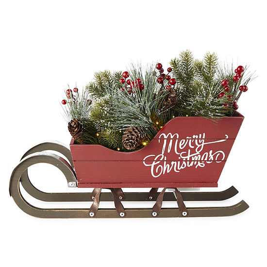 North Pole Trading Co. Red Sleigh Centerpiece Tabletop Decor