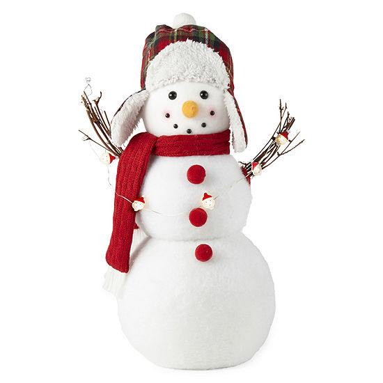North Pole Trading Co. Snowman With Plaid Hat Lighted Snowman Figurine