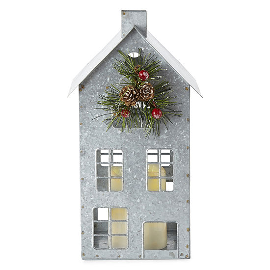 North Pole Trading Co. Mistletoe Farms Galvanized House With Led Candle Tabletop Decor