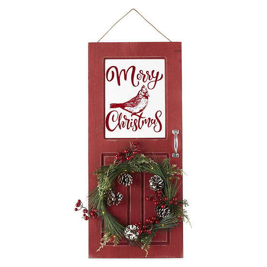 North Pole Trading Co. Door With Wreath Wall Sign