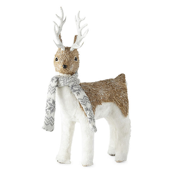 North Pole Trading Co. Snowy Day Sisal Deer With Scarf Tabletop Decor