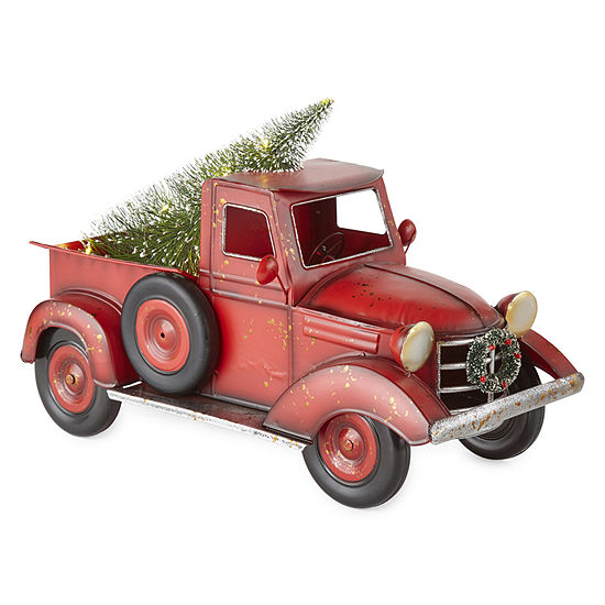 North Pole Trading Co. Mistletoe Farms Red Truck With Led Tree Lighted Christmas Tabletop Decor