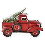 North Pole Trading Co. Mistletoe Farms Red Truck With Led Tree Tabletop Decor