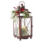 North Pole Trading Co. Mistletoe Farms Red Metal Lantern With Led Candles Decorative