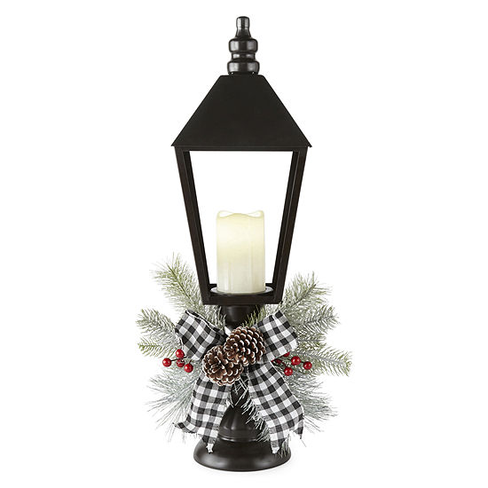North Pole Trading Co. Snowy Day Led Candle Pedestal Decorative Lantern