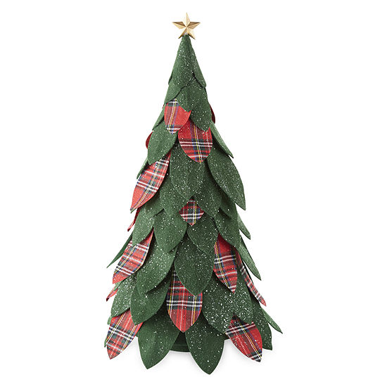 "North Pole Trading Co. Mistletoe Farms 22.5"" Green And Plaid Felt Tree Tabletop Decor"