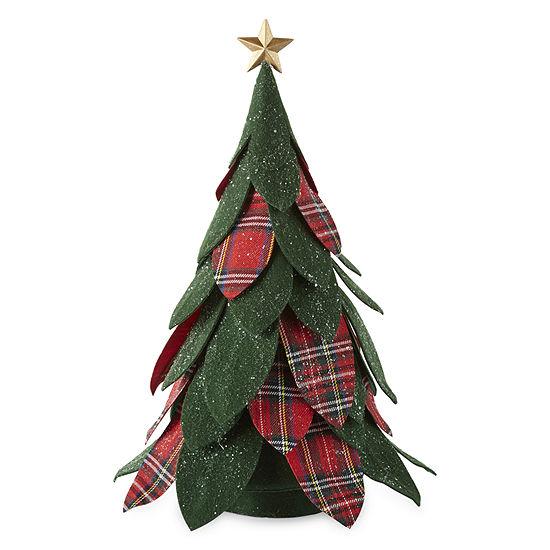 "North Pole Trading Co. Mistletoe Farms 16"" Green And Plaid Felt Tree Handmade Christmas Tabletop Decor"