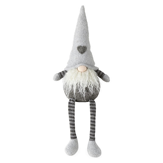 """North Pole Trading Co. Snowy Day 19"""" Sitting Heart Gnome Tabletop Decor"""