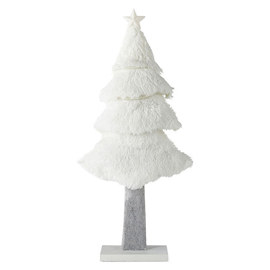 """North Pole Trading Co. Snowy Day 20"""" Furry Tree Tabletop Decor"""