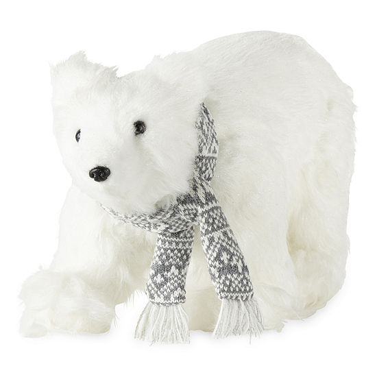 "North Pole Trading Co. 8"" Fuzzy Polar Bear Handmade Animal Figurines"