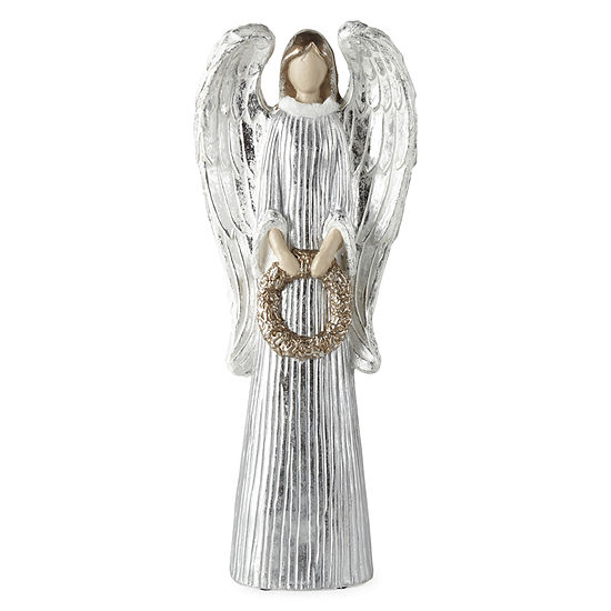 """North Pole Trading Co. 20"""" Silver Paper Pulp Hand Painted Angel Figurine"""