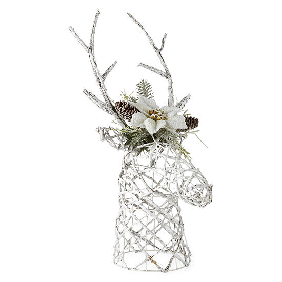 "North Pole Trading Co. Snowy Day 23"" White Vine Reindeer Centerpiece Tabletop Decor"