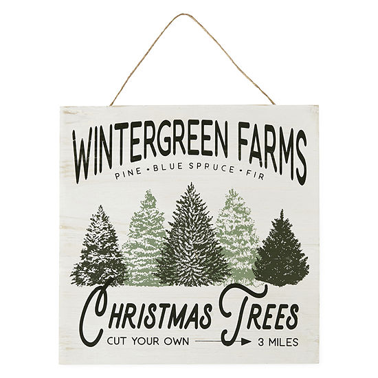 "North Pole Trading Co. 16"" Wintergreen Farms Wall Sign"
