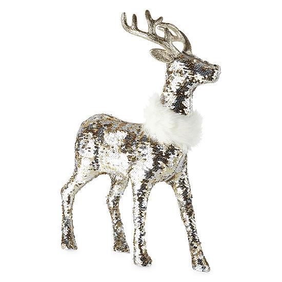 North Pole Trading Co. Sequin Reindeer Handmade Christmas Animal Figurines