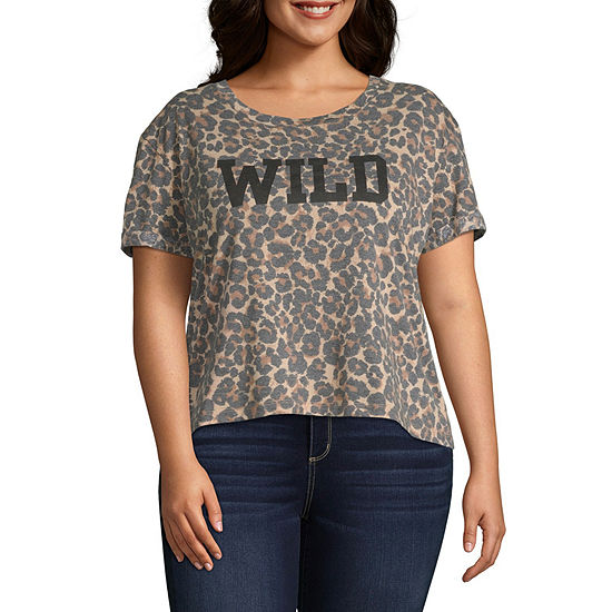 Cut And Paste Womens Crew Neck Short Sleeve Graphic T-Shirt-Juniors Plus