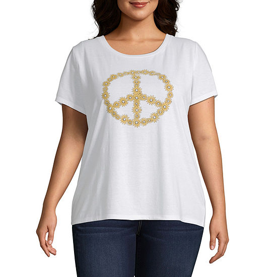 Cut And Paste Womens Crew Neck Short Sleeve Graphic T-Shirt-Juniors Plus