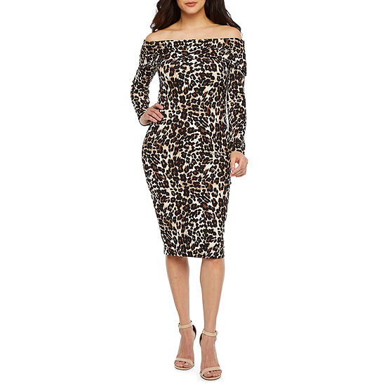 Premier Amour Off The Shoulder Animal Print Sheath Dress