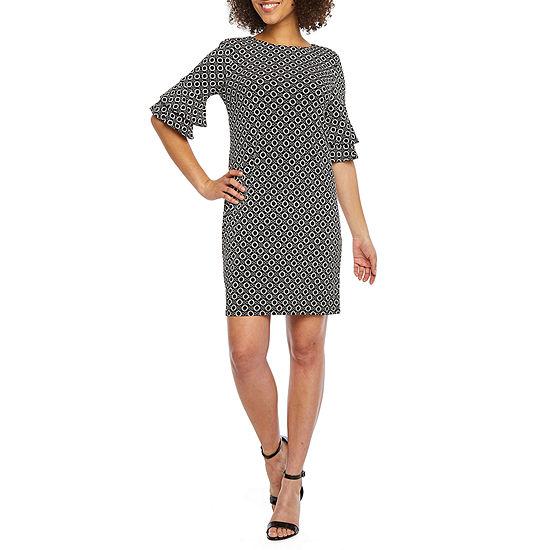 R & K Originals 3/4 Tiered Bell Sleeve Circle Puff Print Shift Dress