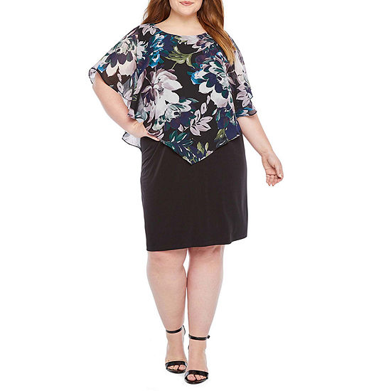 Alyx Short Sleeve Floral Popover Sheath Dress-Plus