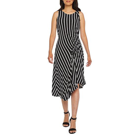 Robbie Bee-Petite Sleeveless Striped Midi Fit & Flare Dress