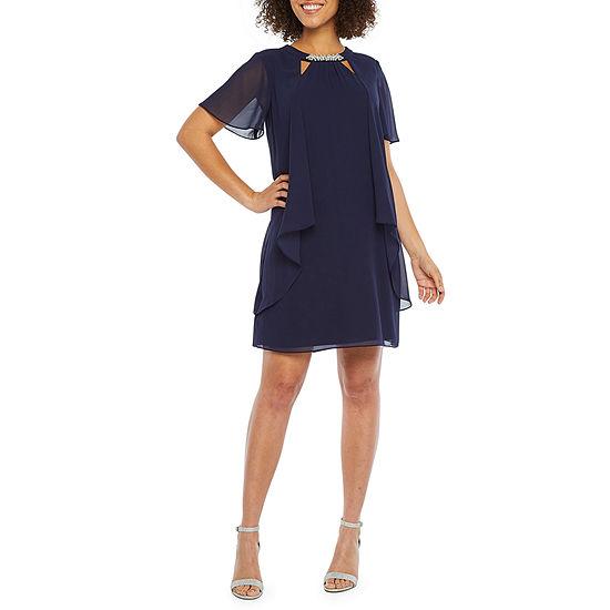 S. L. Fashions Short Sleeve Beaded Neck Shift Dress
