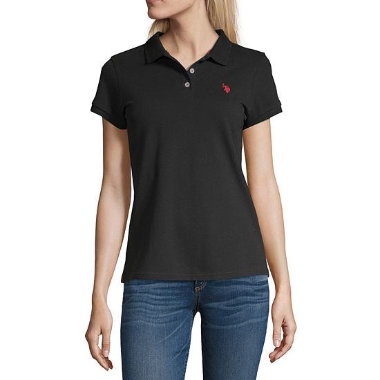 Us Polo Assn. Womens Short Sleeve Knit Polo Shirt Juniors