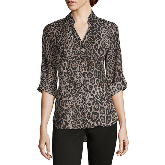 by&by-Juniors Womens 3/4 Sleeve Button-Down Shirt