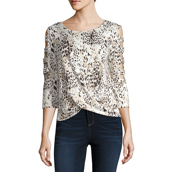 by&by-Juniors Womens Round Neck 3/4 Sleeve Knit Blouse