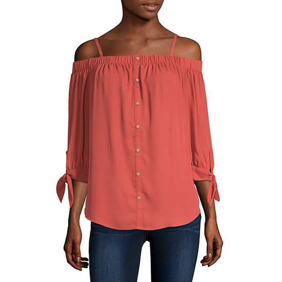 Byby Womens 3 4 Sleeve Loose Fit Button Front Shirt Juniors