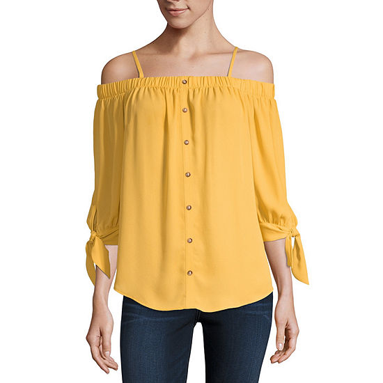 by&by-Juniors Womens 3/4 Sleeve Loose Fit Button-Front Shirt