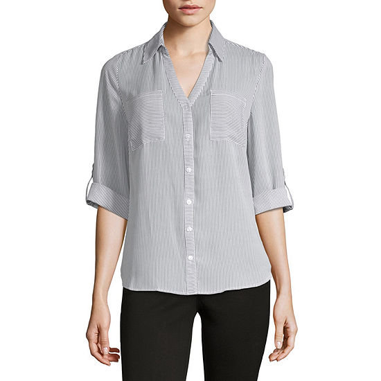 Byby Womens 3 4 Sleeve Button Front Shirt Juniors