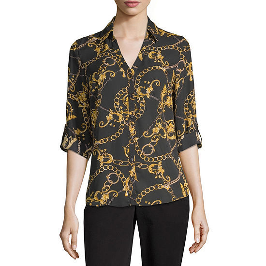by&by Womens 3/4 Sleeve Button-Front Shirt-Juniors