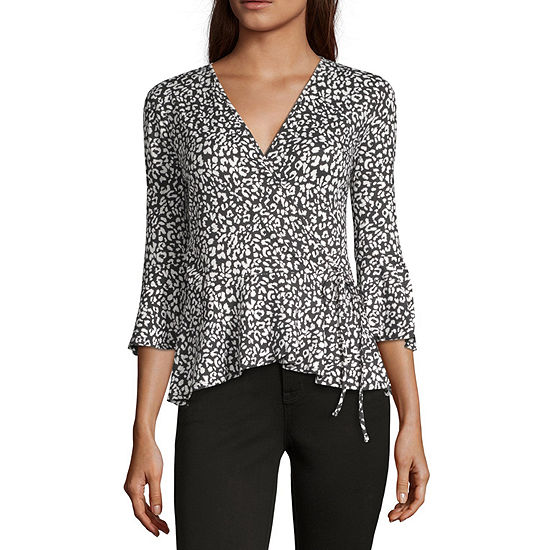 by&by Womens V Neck 3/4 Sleeve Knit Blouse-Juniors