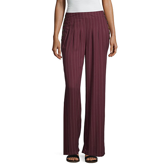 Rewash Womens Mid Rise Wide Leg Palazzo Pant-Juniors