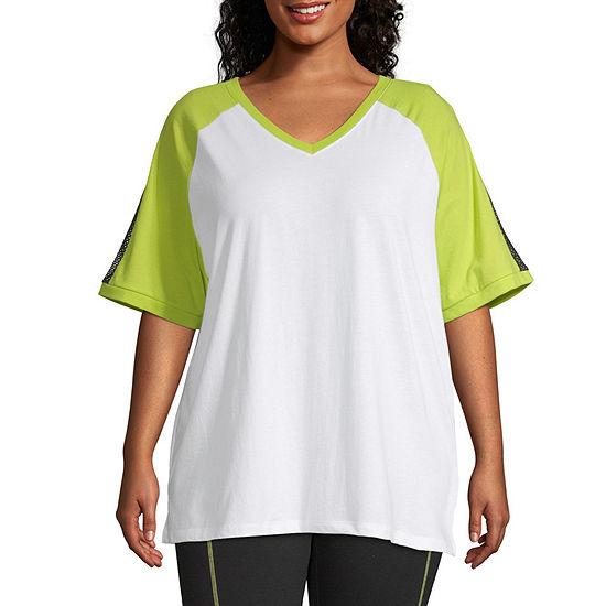 Flirtitude Juniors Plus-Womens V Neck Short Sleeve T-Shirt