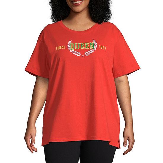 Flirtitude-Juniors Plus Womens Crew Neck Short Sleeve Graphic T-Shirt