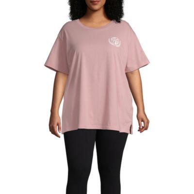 Flirtitude Womens Crew Neck Short Sleeve Graphic T-Shirt-Juniors Plus