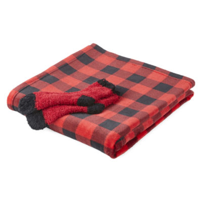 North Pole Trading Co. Buffalo Plaid Family Throw and Socks