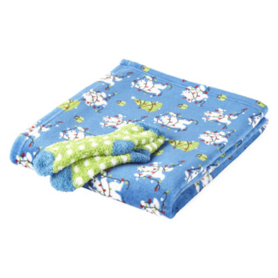 North Pole Trading Co. Polar Bear Family Throw and Socks