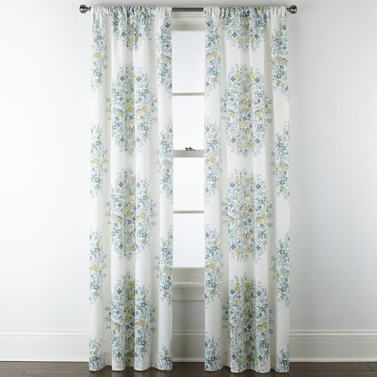 Home Expressions Pippa Aqua Floral 2-Pack Rod Pocket Curtain Panels