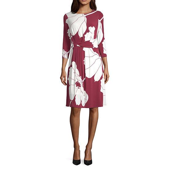 Liz Claiborne 3/4 Sleeve Floral A-Line Dress
