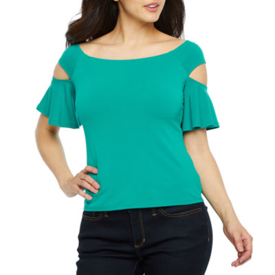 Bold Elements Womens Scoop Neck 3/4 Sleeve Blouse