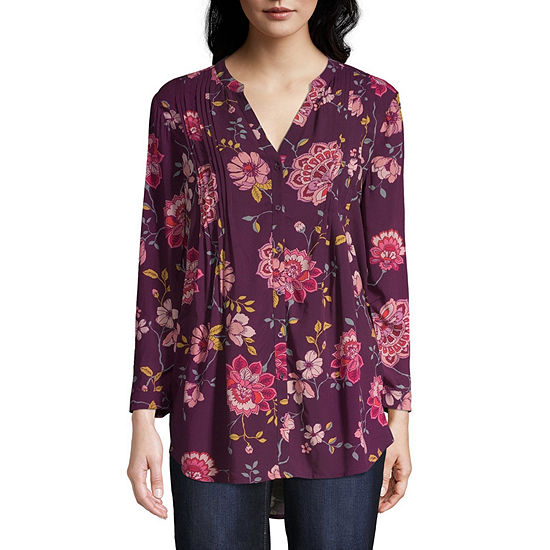St. John's Bay Womens Split Crew Neck 3/4 Sleeve Tunic Top
