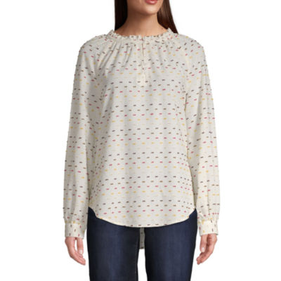St. John's Bay Womens Mock Neck Long Sleeve Blouse