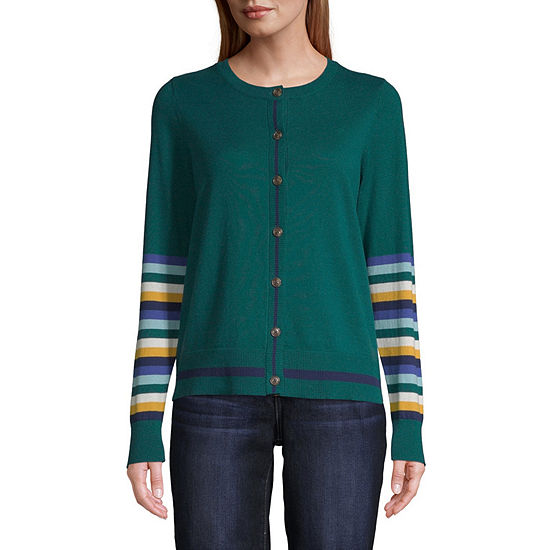 St. John's Bay Womens Round Neck Long Sleeve Button Cardigan