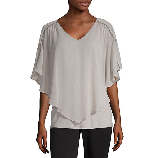 Alyx Womens V Neck Short Sleeve Blouse