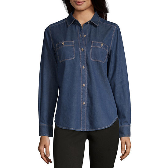 Liz Claiborne Simply Womens Long Sleeve Regular Fit Button-Front Shirt