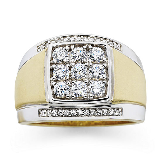 Mens 14K Gold Over Silver Cubic Zirconia Ring