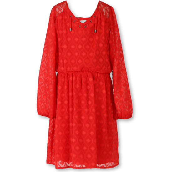 Speechless® Long-Sleeve Orange Textured Chiffon Peasant Dress - Girls Regular Sizes